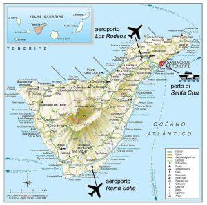 Canarie, mappa di Tenerife che è a forma di papera